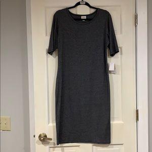 LuLaRoe gray Julia dress L NWT